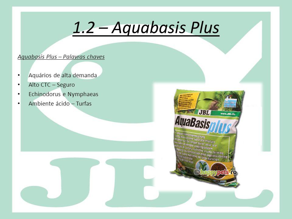 1.2 – Aquabasis Plus Aquabasis Plus – Palavras chaves Aquários de alta demanda Alto CTC – Seguro Echinodorus e Nymphaeas Ambiente ácido – Turfas