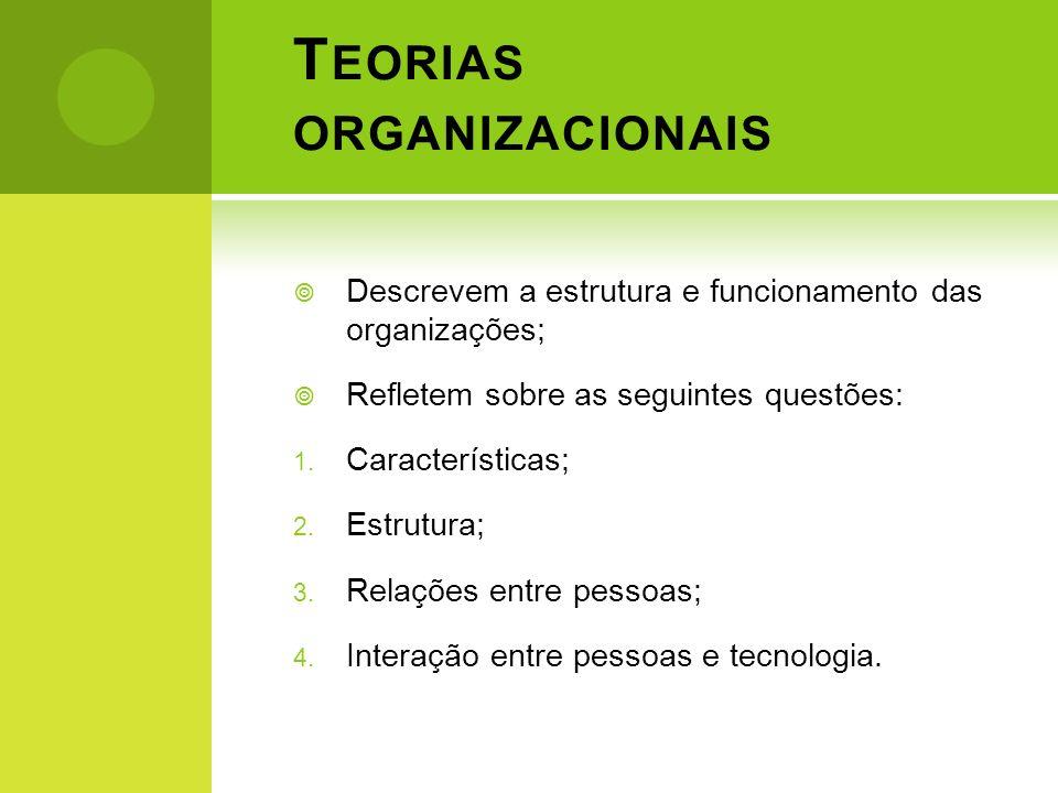 T EORIAS ORGANIZACIONAIS Descrevem a estrutura e funcionamento das organizações; Refletem sobre as seguintes questões: 1. Características; 2. Estrutur