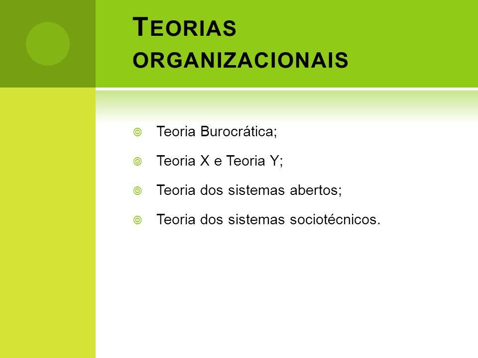 T EORIAS ORGANIZACIONAIS Teoria Burocrática; Teoria X e Teoria Y; Teoria dos sistemas abertos; Teoria dos sistemas sociotécnicos.