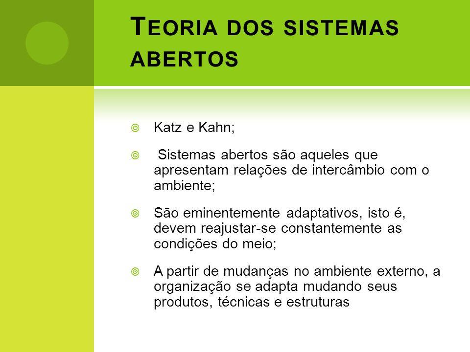 T EORIA DOS SISTEMAS ABERTOS Katz e Kahn; Sistemas abertos são aqueles que apresentam relações de intercâmbio com o ambiente; São eminentemente adapta