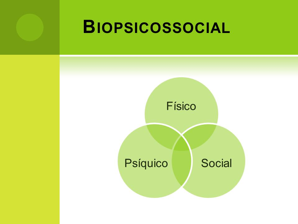 B IOPSICOSSOCIAL Físico SocialPsíquico