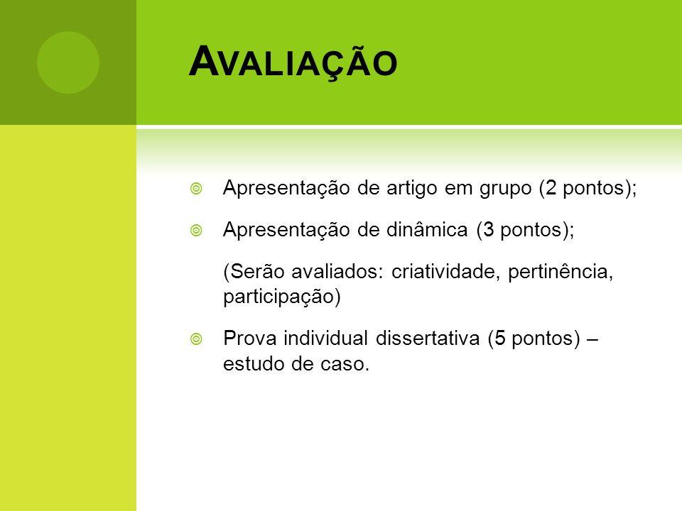 A VALIAÇÃO Apresentação de artigo em grupo (2 pontos); Apresentação de dinâmica (3 pontos); (Serão avaliados: criatividade, pertinência, participação)