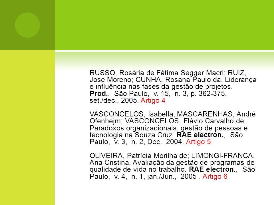 RUSSO, Rosária de Fátima Segger Macri; RUIZ, Jose Moreno; CUNHA, Rosana Paulo da. Liderança e influência nas fases da gestão de projetos. Prod., São P