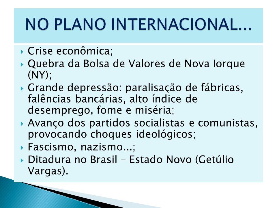 Crise econômica; Quebra da Bolsa de Valores de Nova Iorque (NY); Grande depressão: paralisação de fábricas, falências bancárias, alto índice de desemp