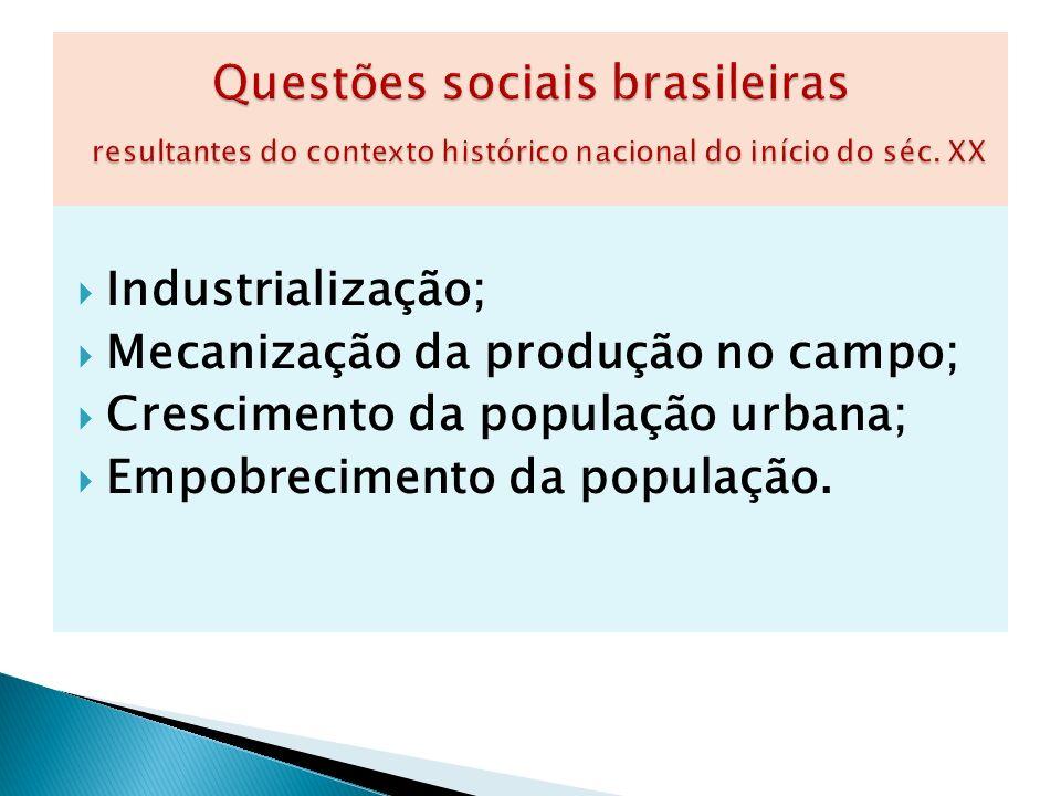 Industrialização; Mecanização da produção no campo; Crescimento da população urbana; Empobrecimento da população.