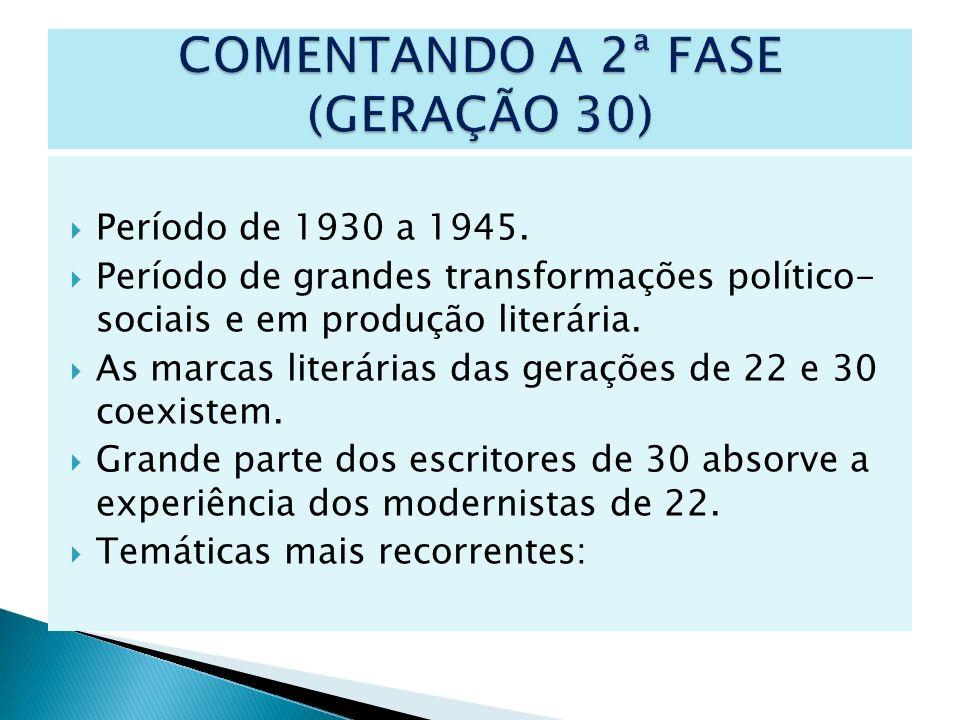 Período de 1930 a 1945. Período de grandes transformações político- sociais e em produção literária. As marcas literárias das gerações de 22 e 30 coex