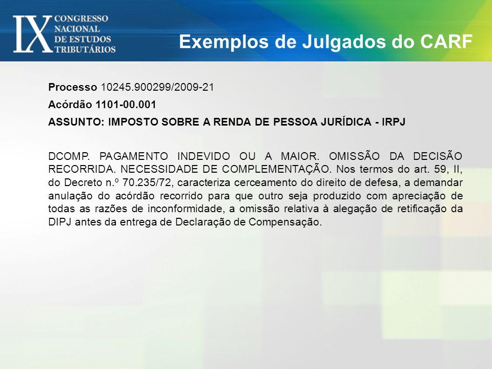 Exemplos de Julgados do CARF Processo 10245.900299/2009-21 Acórdão 1101-00.001 ASSUNTO: IMPOSTO SOBRE A RENDA DE PESSOA JURÍDICA - IRPJ DCOMP. PAGAMEN