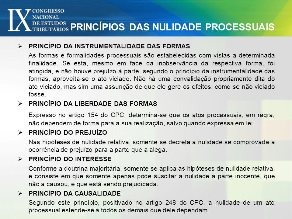 PRINCÍPIOS DAS NULIDADE PROCESSUAIS PRINCÍPIO DA INSTRUMENTALIDADE DAS FORMAS As formas e formalidades processuais são estabelecidas com vistas a dete
