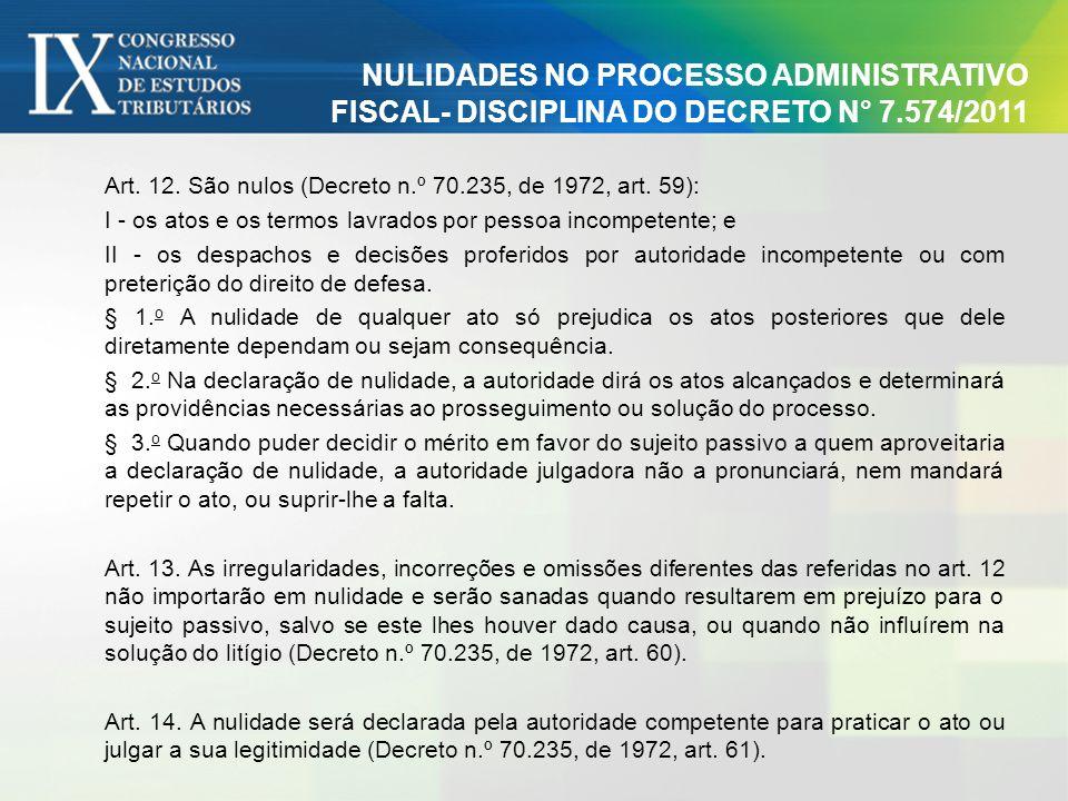 NULIDADES NO PROCESSO ADMINISTRATIVO FISCAL- DISCIPLINA DO DECRETO N° 7.574/2011 Art. 12. São nulos (Decreto n.º 70.235, de 1972, art. 59): I - os ato