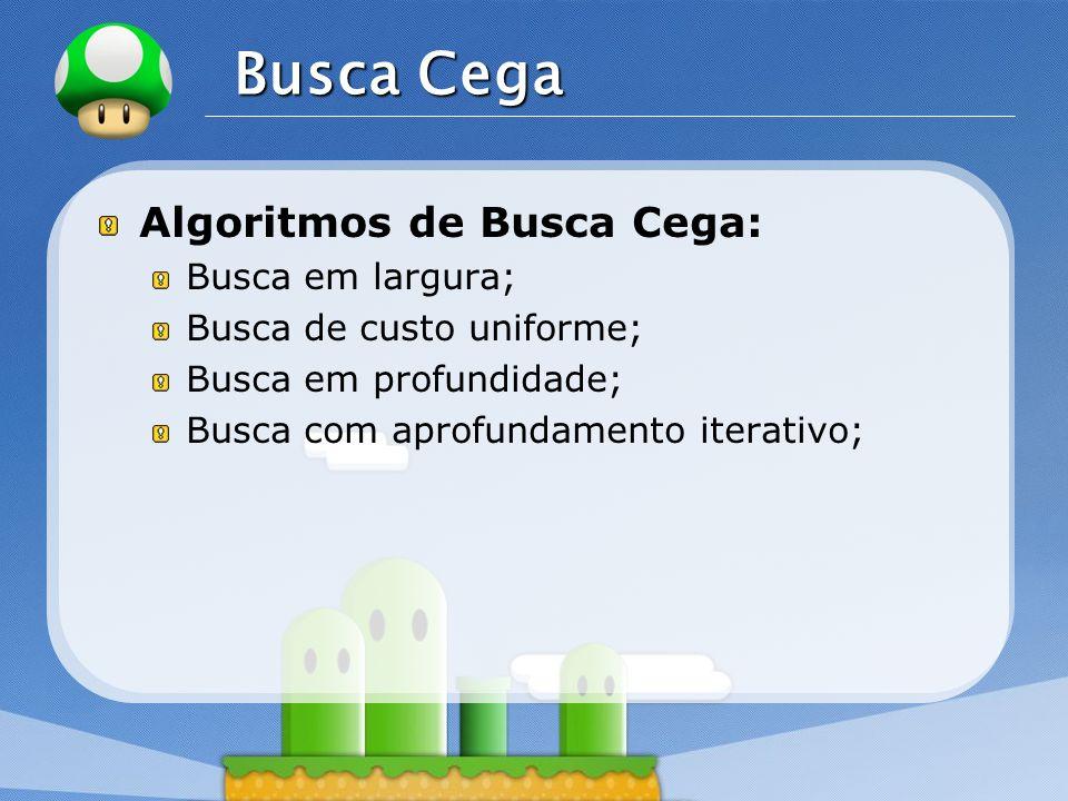 LOGO Busca Cega Algoritmos de Busca Cega: Busca em largura; Busca de custo uniforme; Busca em profundidade; Busca com aprofundamento iterativo;
