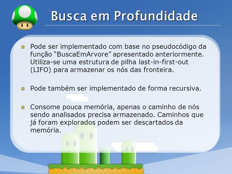 LOGO Busca em Profundidade Pode ser implementado com base no pseudocódigo da função BuscaEmArvore apresentado anteriormente. Utiliza-se uma estrutura