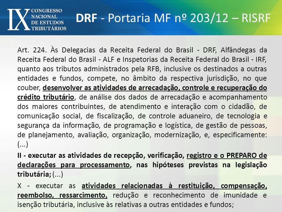 DRF - Portaria MF nº 203/12 – RISRF Art. 224. Às Delegacias da Receita Federal do Brasil - DRF, Alfândegas da Receita Federal do Brasil - ALF e Inspet