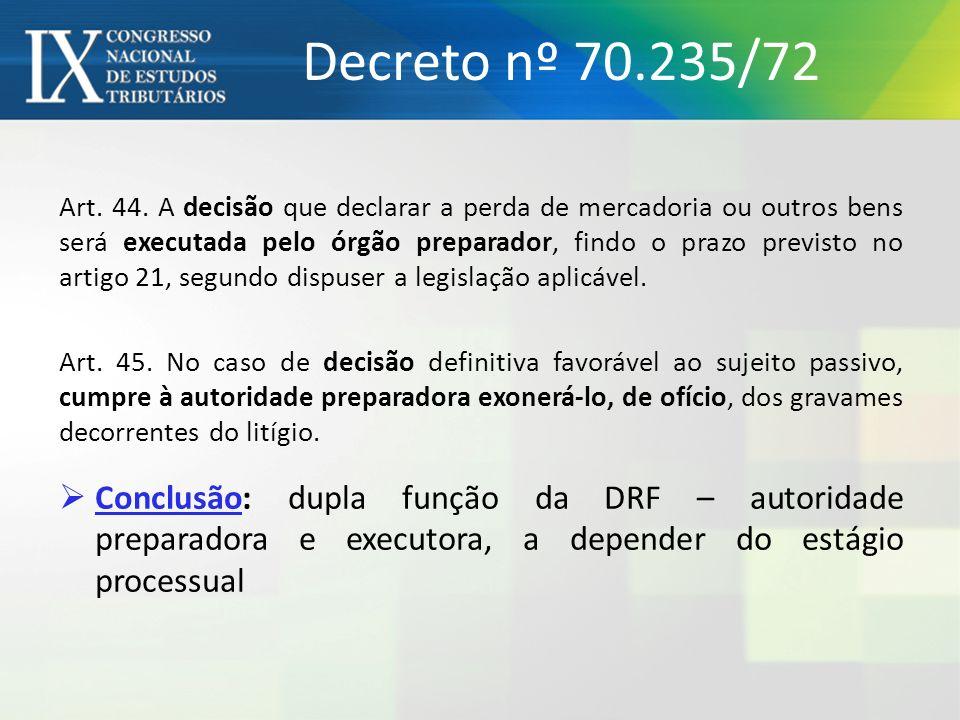 Decreto nº 70.235/72 Art. 44. A decisão que declarar a perda de mercadoria ou outros bens será executada pelo órgão preparador, findo o prazo previsto