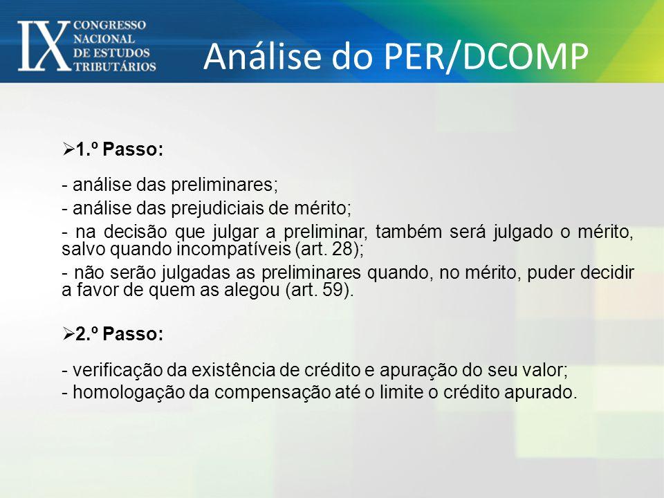 Análise do PER/DCOMP 1.º Passo: - análise das preliminares; - análise das prejudiciais de mérito; - na decisão que julgar a preliminar, também será ju