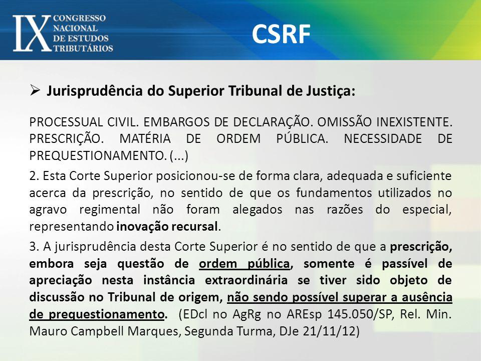 CSRF Jurisprudência do Superior Tribunal de Justiça: PROCESSUAL CIVIL. EMBARGOS DE DECLARAÇÃO. OMISSÃO INEXISTENTE. PRESCRIÇÃO. MATÉRIA DE ORDEM PÚBLI