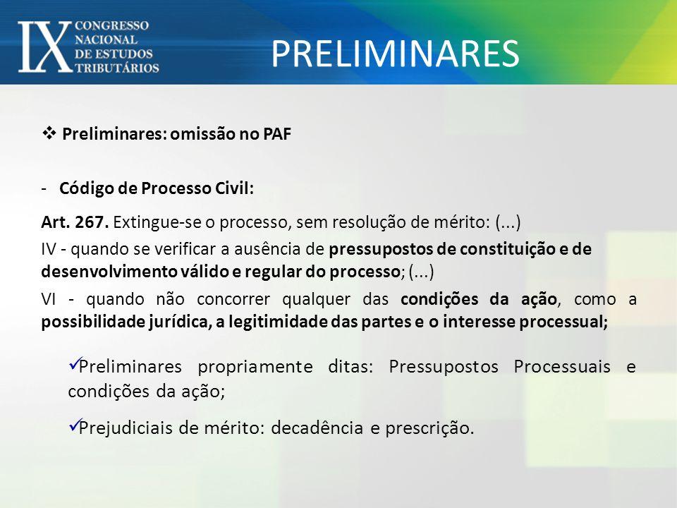 PRELIMINARES Preliminares: omissão no PAF - Código de Processo Civil: Art. 267. Extingue-se o processo, sem resolução de mérito: (...) IV - quando se