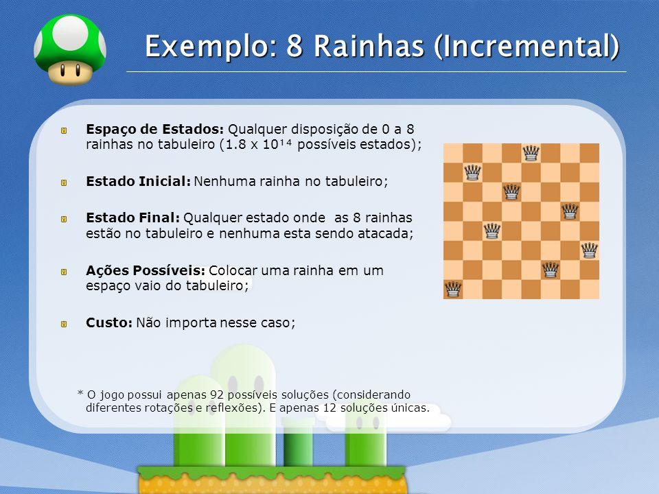 LOGO Exemplo: 8 Rainhas (Incremental) Espaço de Estados: Qualquer disposição de 0 a 8 rainhas no tabuleiro (1.8 x 10 possíveis estados); Estado Inicia