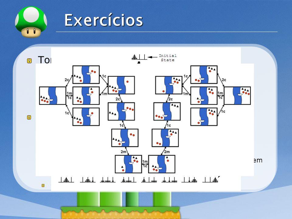 LOGO Exercícios Torre de Hanói: Espaço de Estados: Todas as possíveis configurações de argolas em todos os pinos (27 possíveis estados). Ações Possíve
