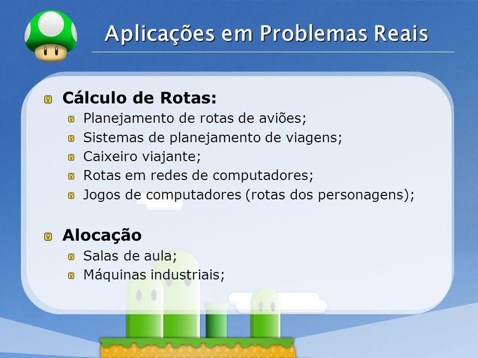 LOGO Aplicações em Problemas Reais Cálculo de Rotas: Planejamento de rotas de aviões; Sistemas de planejamento de viagens; Caixeiro viajante; Rotas em