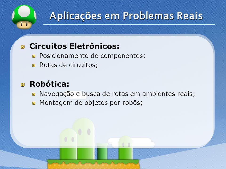 LOGO Aplicações em Problemas Reais Circuitos Eletrônicos: Posicionamento de componentes; Rotas de circuitos; Robótica: Navegação e busca de rotas em a