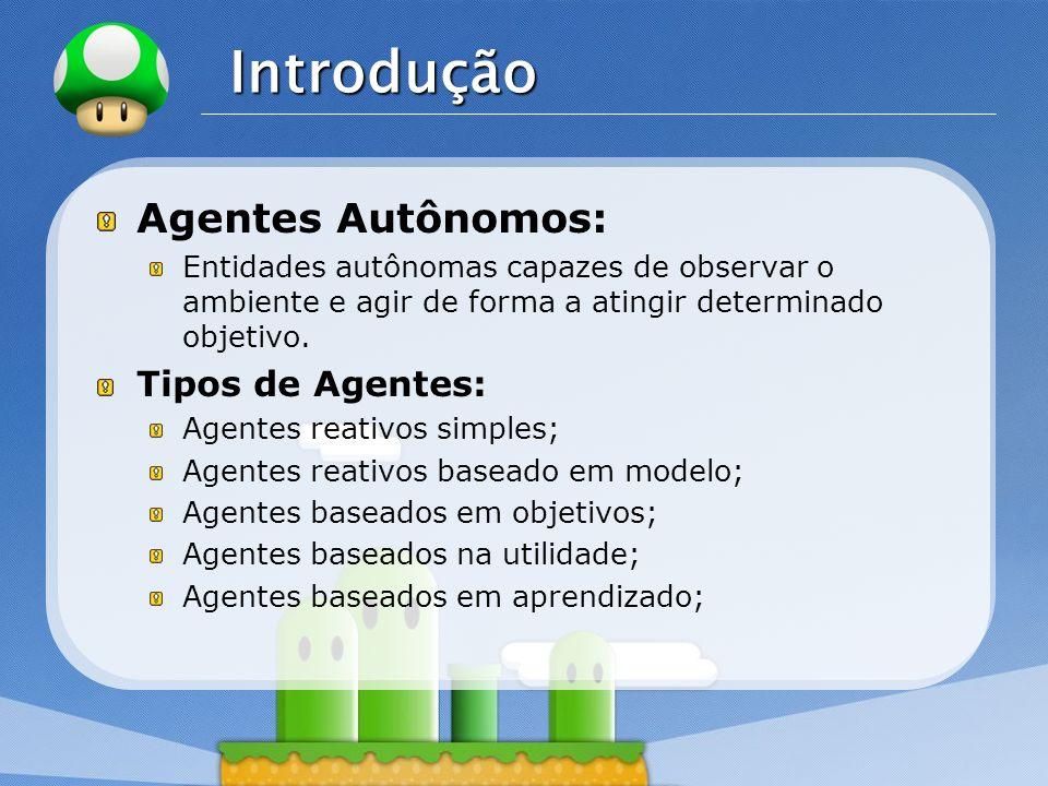 LOGO Introdução Agentes Autônomos: Entidades autônomas capazes de observar o ambiente e agir de forma a atingir determinado objetivo. Tipos de Agentes