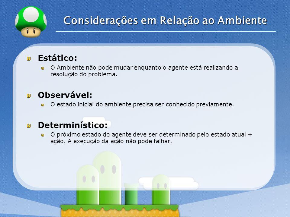 LOGO Considerações em Relação ao Ambiente Estático: O Ambiente não pode mudar enquanto o agente está realizando a resolução do problema. Observável: O