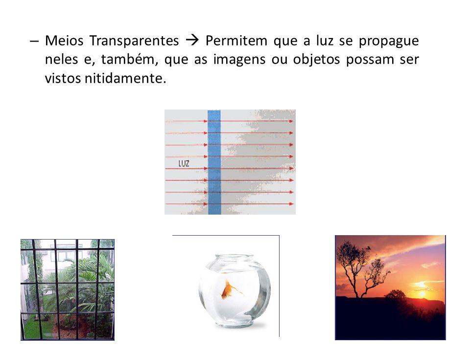 INTERAÇÃO DA LUZ COM MEIOS MATERIAIS Podemos classificar os meios materiais de acordo com a forma com que a luz se propaga (ou não) nos mesmos.