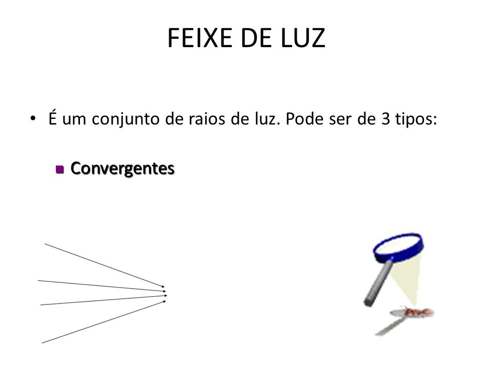RAIOS DE LUZ São segmentos de reta orientados que representam o sentido de propagação da luz e auxiliam na construção de imagens em diversos sistemas