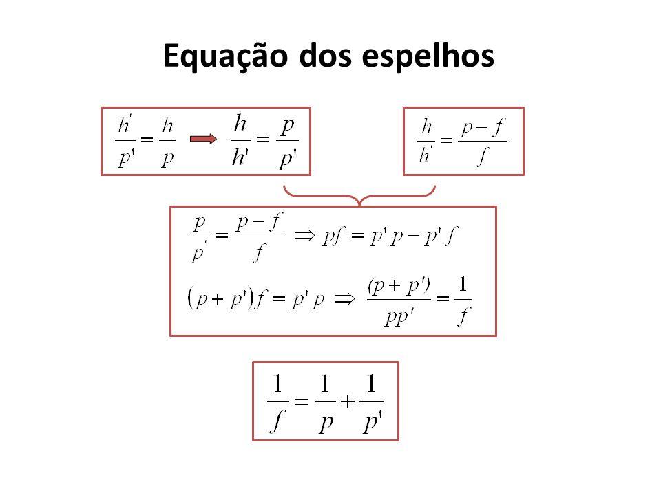 Equação dos espelhos p p h C F A A Eixo principal h i r