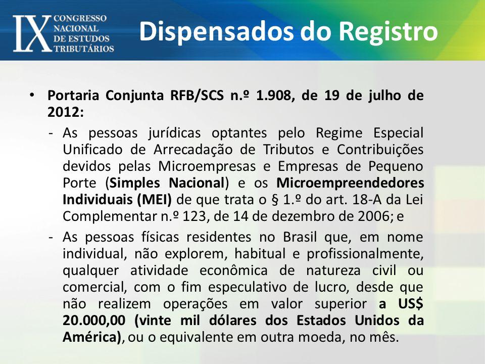 Dispensados do Registro Portaria Conjunta RFB/SCS n.º 1.908, de 19 de julho de 2012: -As pessoas jurídicas optantes pelo Regime Especial Unificado de Arrecadação de Tributos e Contribuições devidos pelas Microempresas e Empresas de Pequeno Porte (Simples Nacional) e os Microempreendedores Individuais (MEI) de que trata o § 1.º do art.
