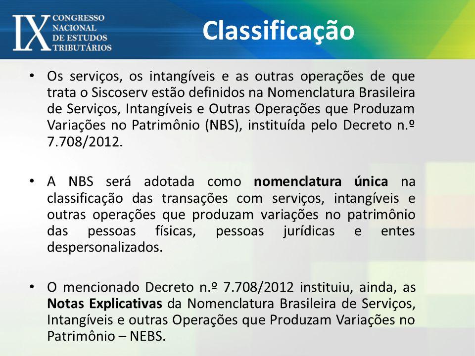 Classificação Os serviços, os intangíveis e as outras operações de que trata o Siscoserv estão definidos na Nomenclatura Brasileira de Serviços, Intangíveis e Outras Operações que Produzam Variações no Patrimônio (NBS), instituída pelo Decreto n.º 7.708/2012.
