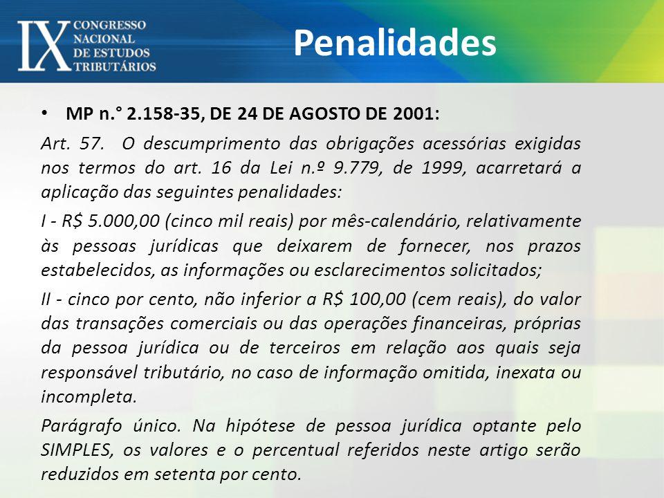 Penalidades MP n.° 2.158-35, DE 24 DE AGOSTO DE 2001: Art. 57. O descumprimento das obrigações acessórias exigidas nos termos do art. 16 da Lei n.º 9.