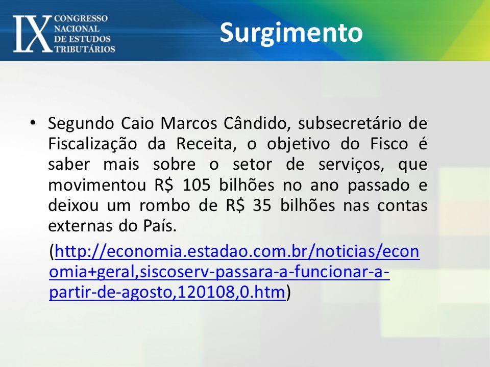Surgimento Segundo Caio Marcos Cândido, subsecretário de Fiscalização da Receita, o objetivo do Fisco é saber mais sobre o setor de serviços, que movimentou R$ 105 bilhões no ano passado e deixou um rombo de R$ 35 bilhões nas contas externas do País.