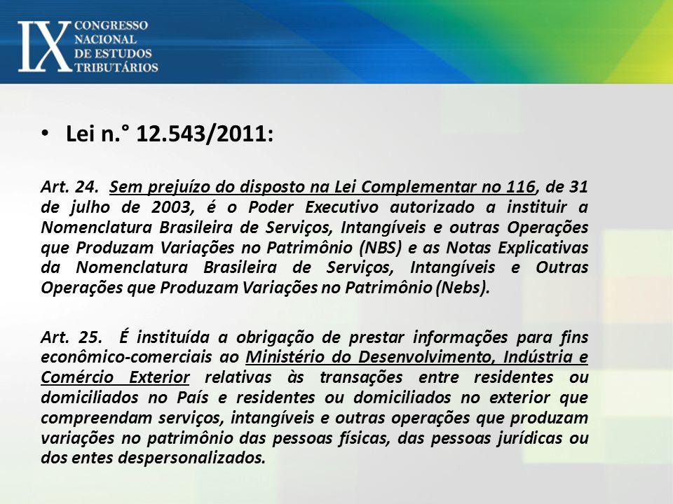 Lei n.° 12.543/2011: Art. 24. Sem prejuízo do disposto na Lei Complementar no 116, de 31 de julho de 2003, é o Poder Executivo autorizado a instituir