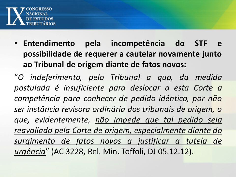 Entendimento pela incompetência do STF e possibilidade de requerer a cautelar novamente junto ao Tribunal de origem diante de fatos novos: O indeferim