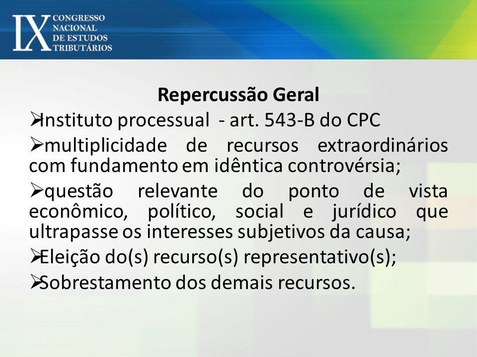 Repercussão Geral Instituto processual - art. 543-B do CPC multiplicidade de recursos extraordinários com fundamento em idêntica controvérsia; questão