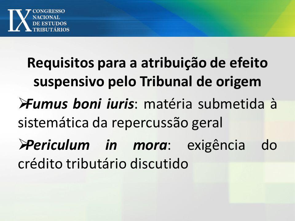 Requisitos para a atribuição de efeito suspensivo pelo Tribunal de origem Fumus boni iuris: matéria submetida à sistemática da repercussão geral Peric
