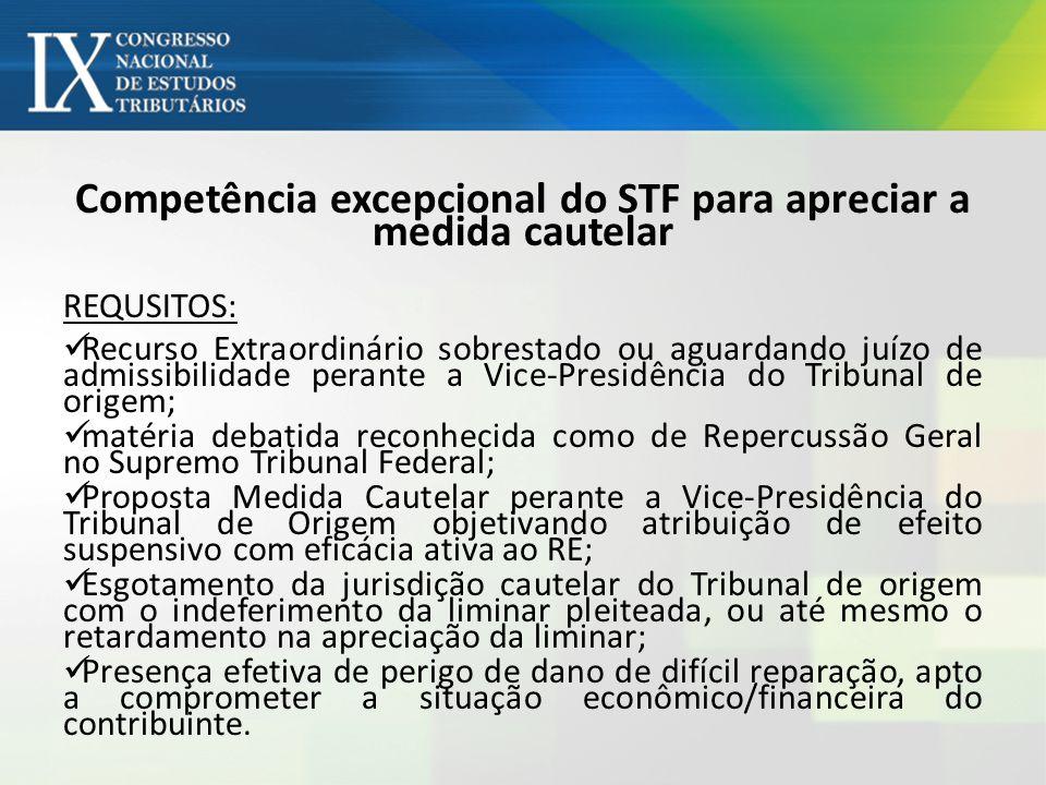 Competência excepcional do STF para apreciar a medida cautelar REQUSITOS: Recurso Extraordinário sobrestado ou aguardando juízo de admissibilidade per