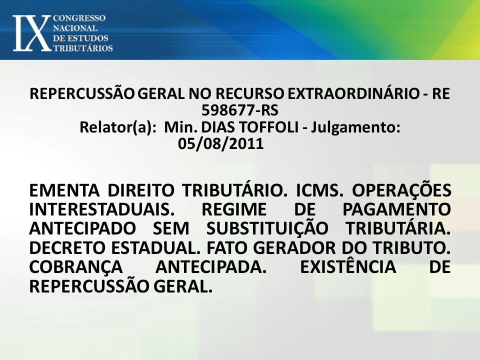 REPERCUSSÃO GERAL NO RECURSO EXTRAORDINÁRIO - RE 598677-RS Relator(a): Min. DIAS TOFFOLI - Julgamento: 05/08/2011 EMENTA DIREITO TRIBUTÁRIO. ICMS. OPE