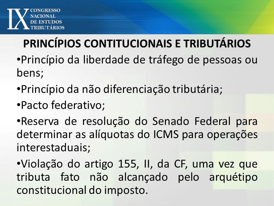PRINCÍPIOS CONTITUCIONAIS E TRIBUTÁRIOS Princípio da liberdade de tráfego de pessoas ou bens; Princípio da não diferenciação tributária; Pacto federat
