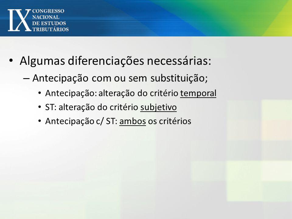 Algumas diferenciações necessárias: – Antecipação com ou sem substituição; Antecipação: alteração do critério temporal ST: alteração do critério subje