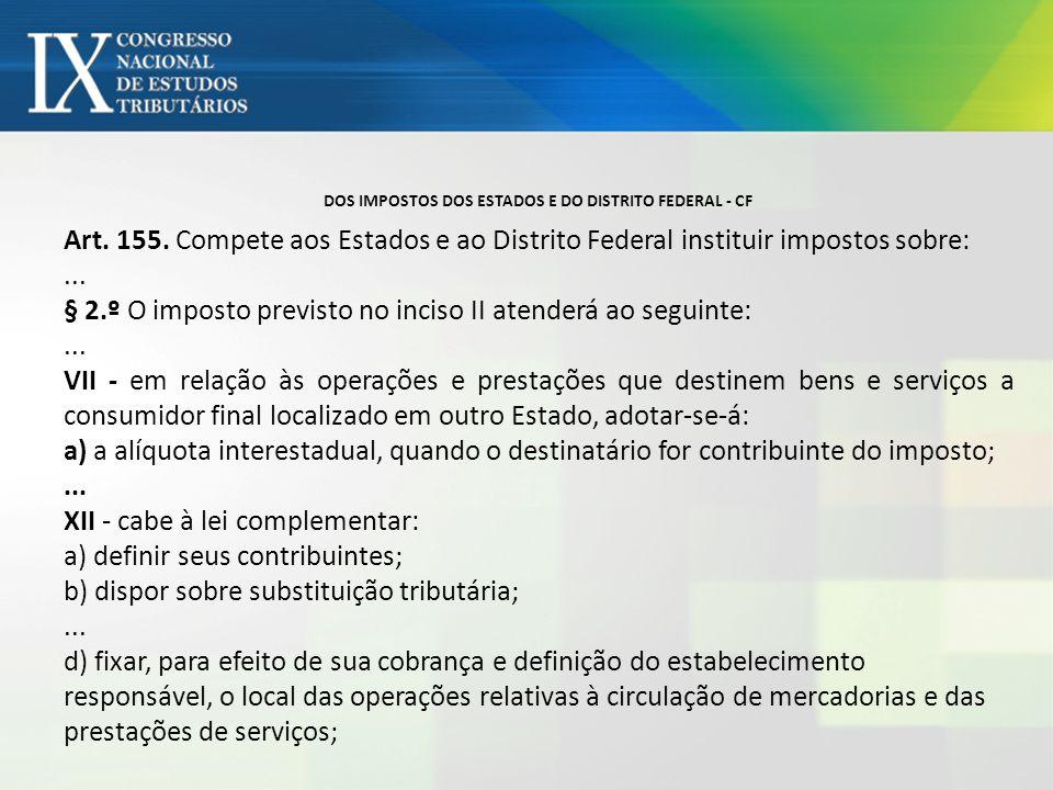 DOS IMPOSTOS DOS ESTADOS E DO DISTRITO FEDERAL - CF Art. 155. Compete aos Estados e ao Distrito Federal instituir impostos sobre:... § 2.º O imposto p
