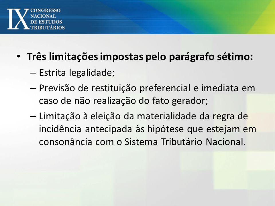 Três limitações impostas pelo parágrafo sétimo: – Estrita legalidade; – Previsão de restituição preferencial e imediata em caso de não realização do f
