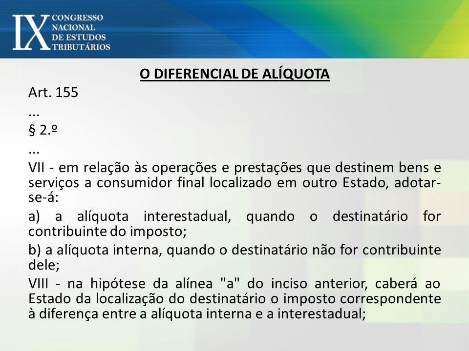 O DIFERENCIAL DE ALÍQUOTA Art. 155... § 2.º... VII - em relação às operações e prestações que destinem bens e serviços a consumidor final localizado e