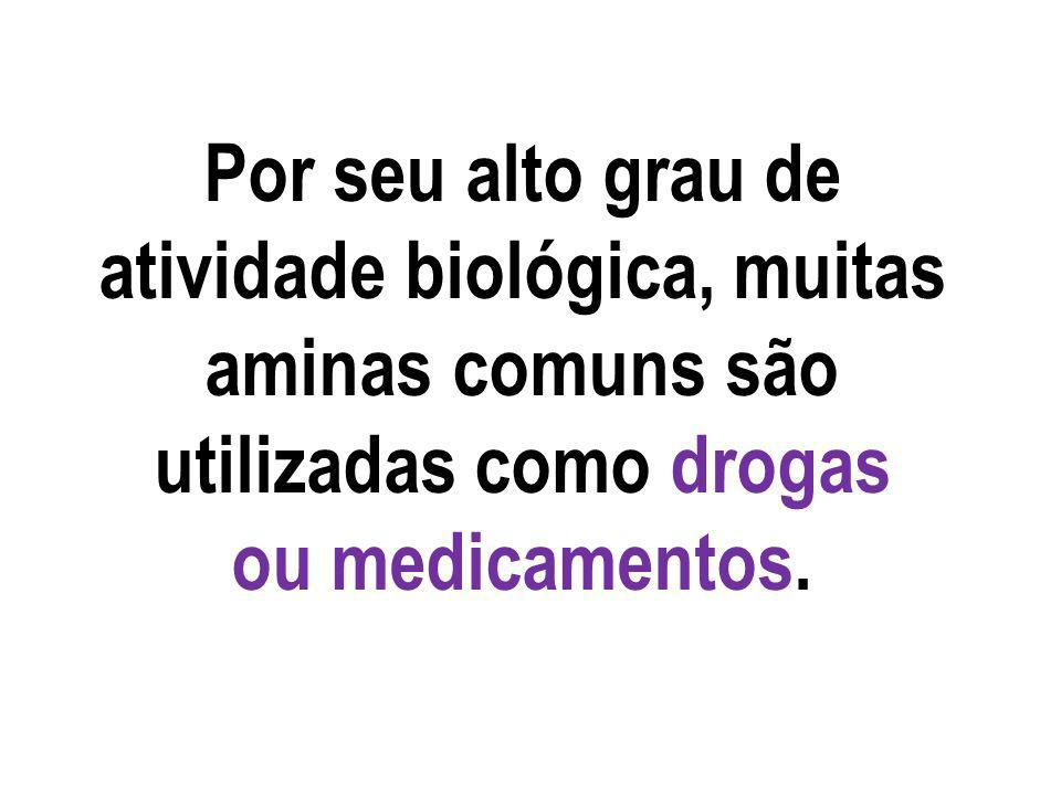Por seu alto grau de atividade biológica, muitas aminas comuns são utilizadas como drogas ou medicamentos.