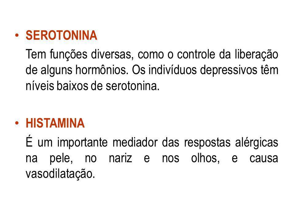 SEROTONINA Tem funções diversas, como o controle da liberação de alguns hormônios. Os indivíduos depressivos têm níveis baixos de serotonina. HISTAMIN