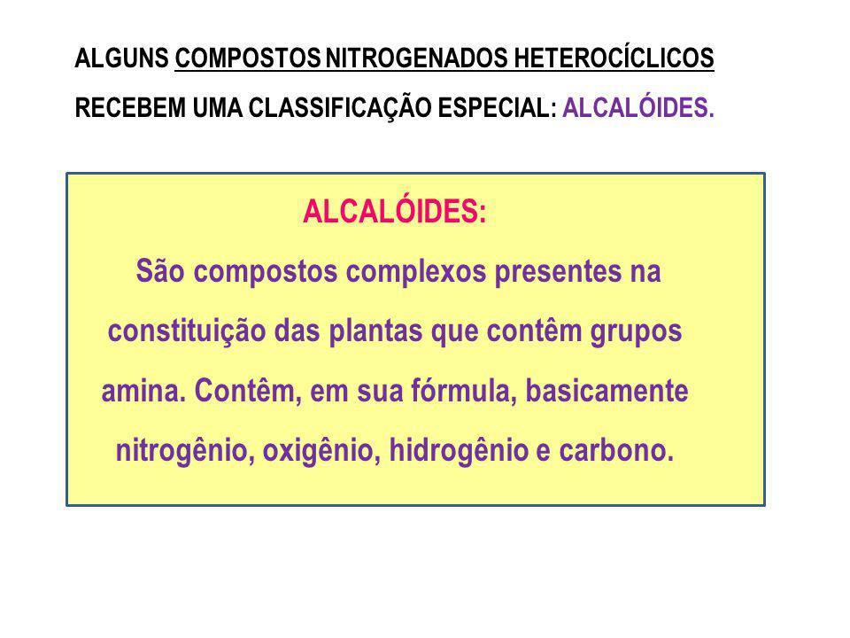 ALGUNS COMPOSTOS NITROGENADOS HETEROCÍCLICOS RECEBEM UMA CLASSIFICAÇÃO ESPECIAL: ALCALÓIDES. ALCALÓIDES: São compostos complexos presentes na constitu