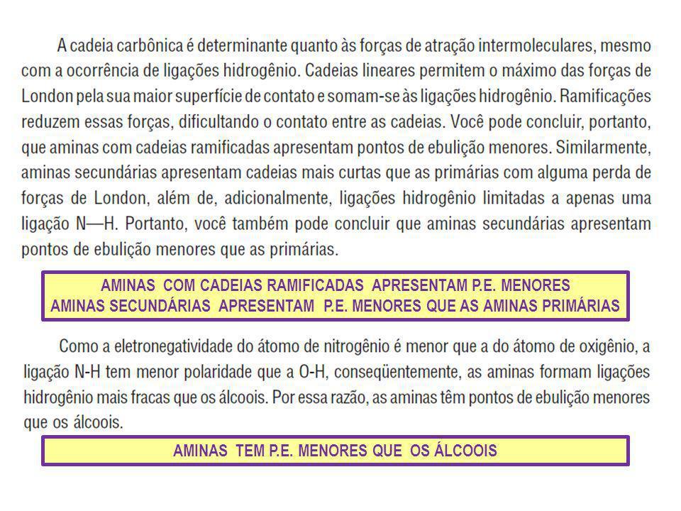 AMINAS COM CADEIAS RAMIFICADAS APRESENTAM P.E. MENORES AMINAS SECUNDÁRIAS APRESENTAM P.E. MENORES QUE AS AMINAS PRIMÁRIAS AMINAS TEM P.E. MENORES QUE