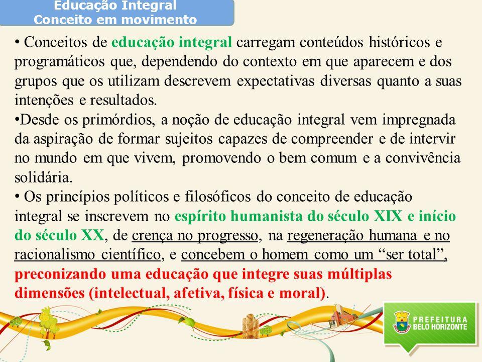 Educação Integral Conceito em movimento Conceitos de educação integral carregam conteúdos históricos e programáticos que, dependendo do contexto em qu
