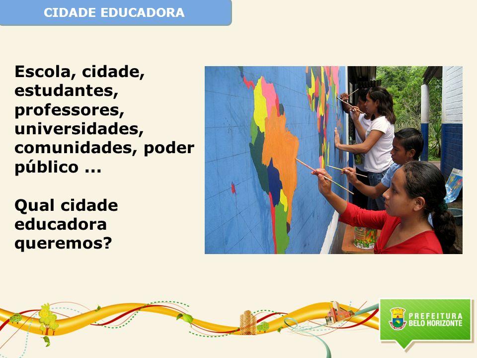 CIDADE EDUCADORA Escola, cidade, estudantes, professores, universidades, comunidades, poder público... Qual cidade educadora queremos?